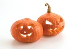 Halloween-Kürbise lächeln und scrary Augen für Parteinacht Lizenzfreie Stockbilder