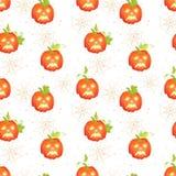 Halloween-Kürbise mit nahtlosem Vektor der Spinnennetze drucken Lizenzfreies Stockfoto