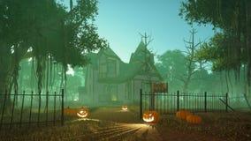 Halloween-Kürbise nahe gespenstischem Haus Stockfotografie