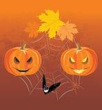 Halloween-Kürbise, -spinnen und -schläger Feiertagszusammensetzung Lizenzfreies Stockbild