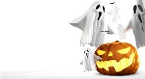 Halloween-Kürbise und Geister und Wiedergabe der Schläger 3d Stockbild