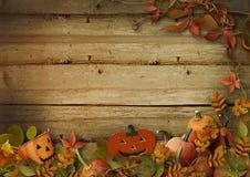 Halloween-Kürbise und -Herbstlaub auf hölzernem Hintergrund Stockfoto