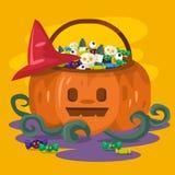 Halloween-Kürbiseimer mit Süßigkeiten und Plätzchen nach innen Glückliches Halloween Hintergrund, Karte, Plakatvektorillustration vektor abbildung