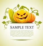 Halloween-Kürbisgemüse mit grünen Blättern Stockfotografie