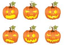 Halloween-Kürbisikonen stock abbildung
