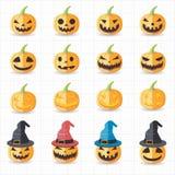 Halloween-Kürbisikonen Lizenzfreie Stockbilder