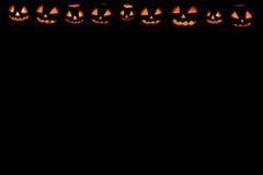 Halloween-Kürbisrahmengesetzte Hauptsteckfassung stockbilder