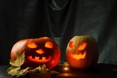 Halloween - Kürbissteckfassung-olaterne auf schwarzem Hintergrund Stockbilder