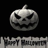 Halloween-Kürbissteckfassungslaterne mit Steinmaterial auf dunklem backg Lizenzfreie Stockfotografie