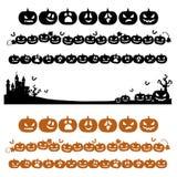 Halloween-Kürbiszeile Dekoration im Schattenbild Lizenzfreie Stockbilder