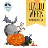 Halloween kąta wystrój dla kart i plakatów Obraz Royalty Free