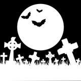 Halloween-kaart met begraafplaats Royalty-vrije Stock Foto