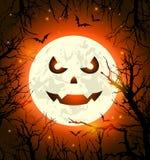 Halloween-kaart met eng gezicht op de Maan royalty-vrije illustratie