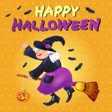 Halloween-kaart met grappige oude heks Stock Afbeeldingen