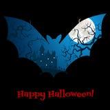 Halloween-kaart met kasteel Stock Foto's