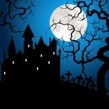 Halloween-kaart met kasteel Stock Afbeeldingen