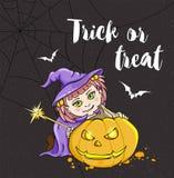 Halloween-kaart met meisje in heksenkostuum vector illustratie