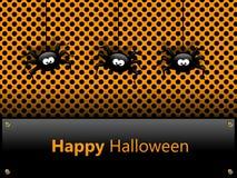 Halloween-kaart met spinnen en groeten Stock Afbeeldingen