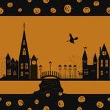 Halloween-kaart naadloos patroon Stock Afbeelding