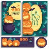 Halloween-kaarten Pompoenen, spoken, knuppels Royalty-vrije Stock Afbeelding