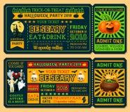 Halloween-kaartjesmalplaatje voor de partij van de verschrikkingsnacht stock illustratie
