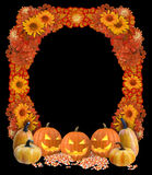 Halloween-Kader met hefboom-o-Lantaarns, Suikergoedgraan, en Daling Folia Stock Foto