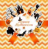 Halloween-kader met stickers van vieringssymbolen Stock Afbeeldingen