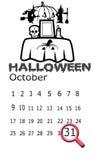 Halloween kalendarz na bielu ilustracji