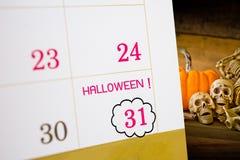 Halloween-kalender met datum 31 Stock Afbeelding