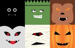 Halloween-karaktergezichten Royalty-vrije Stock Afbeeldingen
