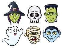 Halloween-Karakterpictogrammen Stock Afbeeldingen