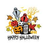 Halloween-Karakterpictogrammen en Symbolen Stock Foto