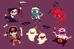 Halloween-karakters die grappige dans in partij doen Stock Afbeelding