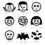 Halloween-karakters - Dracula, Frankenstein, brijpictogrammen Royalty-vrije Stock Fotografie