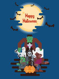 Halloween-karakters onder de maan Stock Foto