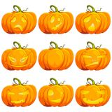 Halloween-Karikaturkürbislaternen-Vektorsatz Lizenzfreie Stockfotografie