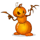 Halloween-Karikaturvogelscheuche mit Kürbiskopf Vektorzeichentrickfilm-figur lokalisiert auf Weiß Lizenzfreies Stockbild