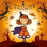 Halloween karta z śliczną małą czarownicą. Obraz Stock