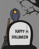 Halloween karta z cmentarzem, grób i wroną, Obraz Stock