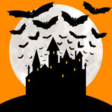 Halloween karta z kasztelem Zdjęcia Royalty Free