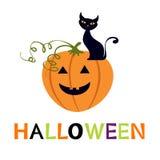 Halloween-Karte mit cuteblack Katze und Kürbis Stockbild