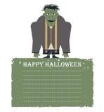 Halloween-Karte mit dem Zombie lokalisiert auf weißem Hintergrund und Winkel des Leistungshebels Stockfoto