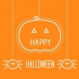 Halloween-Karte mit hängendem Kürbis und Spinnen. Lizenzfreie Stockfotografie