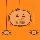 Halloween-Karte mit hängendem Kürbis und zwei Spinnen Flaches Design Flaches Design Stockfoto