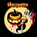Halloween-Karte mit Kürbis und Axt Stockbilder