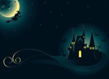 Halloween-Karte mit Palast und Hexe Stockfotografie