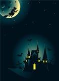 Halloween-Karte mit Schloss und Hexe Lizenzfreies Stockbild