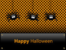 Halloween-Karte mit Spinnen und Grüßen Stockbilder