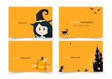 Halloween-Kartenbeschriftungs-Einladungsgruß, glückliche Parteifahnensammlung, flacher Entwurf der Karikatur für Kindervektorillu lizenzfreie abbildung