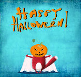 Halloween karty Czerwony kot z bani głową fotografia stock